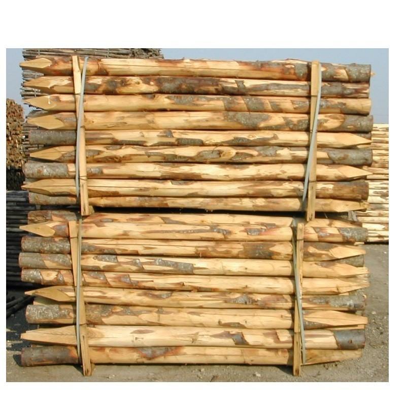 Pali in castagno per recinzione da 8 a 10 cm Altezza 2,50 mt  con punta e Sbucciati