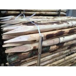 Pali in castagno recinzioni 8/10 cm Altezza 2,00 mt  con punta e Sbucciati